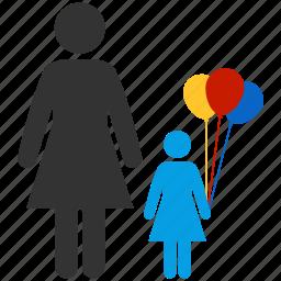 balloons, children, familiar, family, kid, morther, toy icon