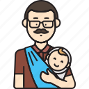 baby, carrying, dad, man, sling icon