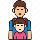 father, girl, man, parant, single icon