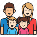 boy, family, father, girl, man, mother, woman icon