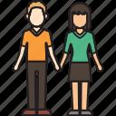 boyfriend, couple, girlfriend, hands, holding, mixed icon