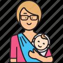baby, carrying, mom, newborn, sling, woman