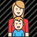 mother, son, woman, single, boy, parent icon