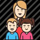 boy, daughter, girl, mother, single, son, woman icon