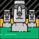 moai, stone, easter island, statue, monument, landmark, monoliths