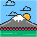 hill, japan, landscape, mount fuji, mountain, sunrise, sunset icon