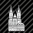 building, church, prague, tyn