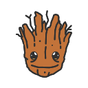fighting free, free, groot, super hero icon