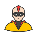 bald hero, mask, ninja, super hero icon