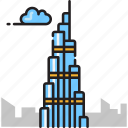 building, burj, burj khalifa, dubai, hotel, khalifa, skyscraper icon