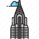 building, chrysler building, new york, new york city, nyc, skyscraper icon