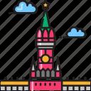 building, citadel, kremlin, landmark, moscow, russia icon