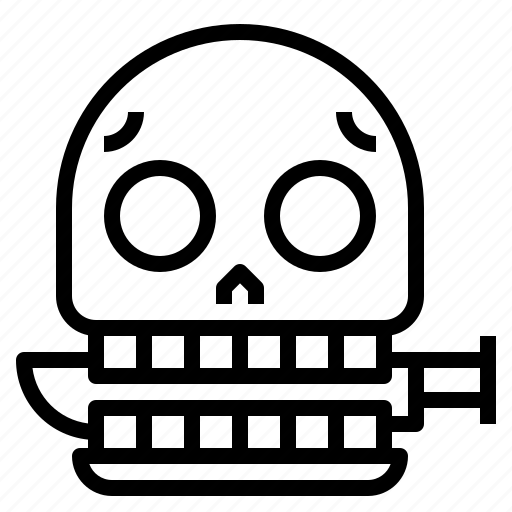 halloween, knife, scary, skull, spooky icon