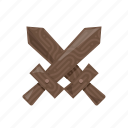 weapon, crossed, wooden, swords, ttrpg, dungeons and dragons, fantasy icon