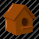 bird, birdhouse, eco, nature, shelter, tree, wooden icon