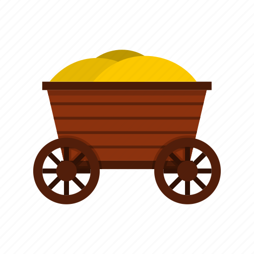 brown, cart, farm, old, wagon, wheelbarrow, wooden icon