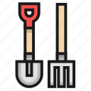 farm, fork, hoe, shovel icon