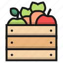 apple, box, cacarot, farm, fruit, vegetable
