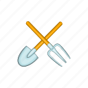 cartoon, fork, gardening, illustration, metal, shovel, sign