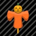 autumn, cartoon, farm, field, halloween, scarecrow, sign icon