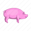 animal, cartoon, farm, meat, pig, pork, sign icon