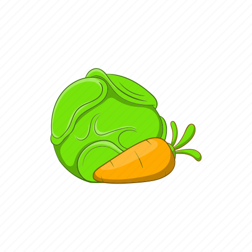 cabbage, carrots, cartoon, food, sign, vegetable, vegetarian icon
