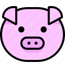 emoticon, farm, farm pig, hog, pig, pork, swine icon