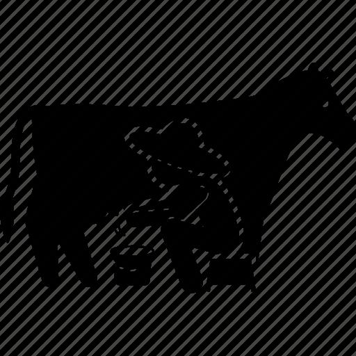 cow, farmer, milk, milking icon
