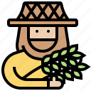 agriculturalist, farmer, grain, harvesting, labor icon