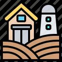countryside, farmhouse, meadow, ranch, silo icon