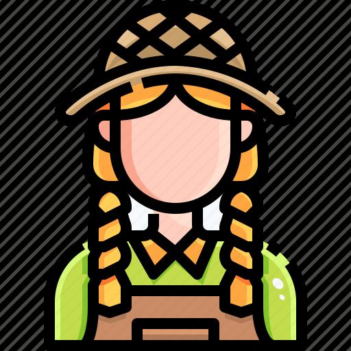 avatar, farm, farmer, farming, female, gardener, people icon