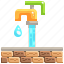 droplet, faucet, laundry, plumber, tap, wall, water icon