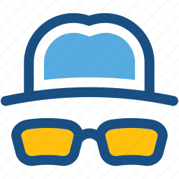 costume, hat, hipster, party props, sunglasses icon
