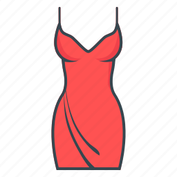 clothes, dress, evening dress, red icon