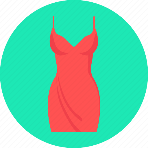 clothes, dress, evening, evening dress, red icon