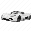 agera, awesome, car, cars, koenigsegg, r, white icon