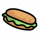 bread, fast, food, menu, restaurant, sandwich icon