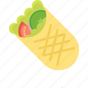 burito, cucumber, fast, food, tomato icon