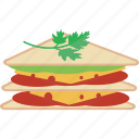 bread, cheese, fast, food, sandwich, tomato icon