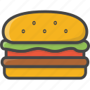 fast, filled, food, hamburger, outline icon