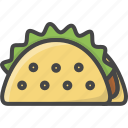 fast, filled, food, outline, taco icon