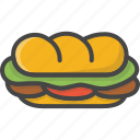fast, filled, food, outline, sandwich, sub icon