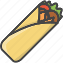 outline, kebab, food, shaurma, roll, filled, meat icon