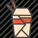 fast, filled, food, noodle, outline icon