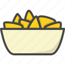 bowl, fast, filled, food, nacho, nachos, outline