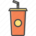 cup, filled, food, outline, soda icon