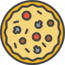 fast, filled, food, outline, pizza icon