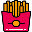chips, fast food, french fries, fries, take away icon