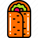 burrito, eating, fast food, take away, vegetables icon