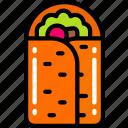 burrito, eating, fast food, take away, vegetables